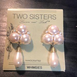 Two Sisters vintage faux pearl/rhinestone earrings